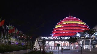 Rwandan landmark lit up in the colors of China's national flag