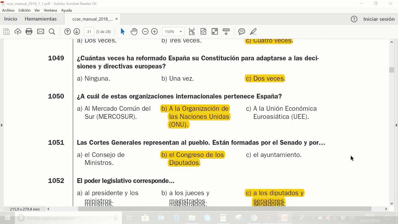 Examen De Nacionalidad Espanola Ccse 2018 Youtube