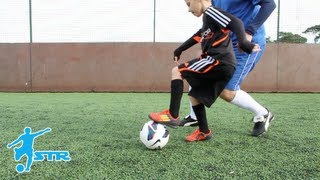 Learn Fake turn and lose defender Football skills kids - LittleSTRs STRskillSchool