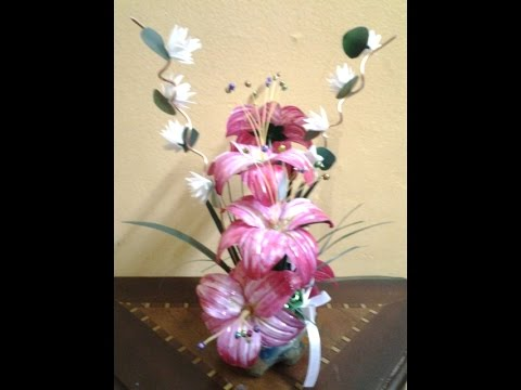 Best out of waste plastic contemporary flower showpiece for Best out of plastic