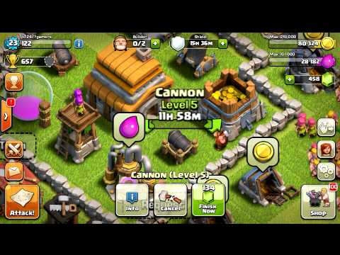 Clash Of Clans Upgrading Level 5 Cannon