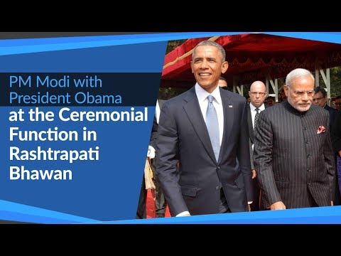PM Narendra Modi with US President Barack Obama on Ceremonial Function at Rashtrapati Bhawan