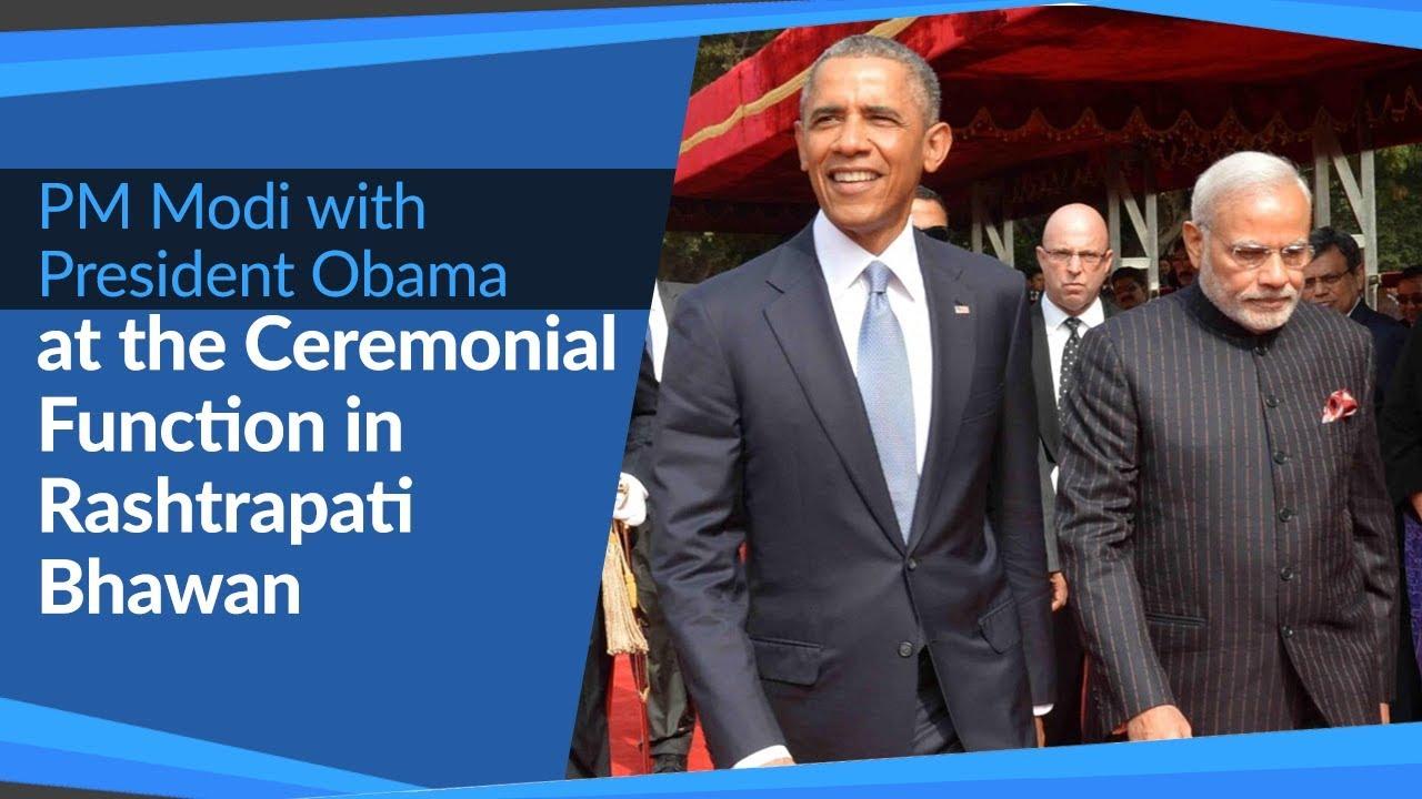 Download PM Narendra Modi with US President Barack Obama at Ceremonial Function in Rashtrapati Bhawan   PMO
