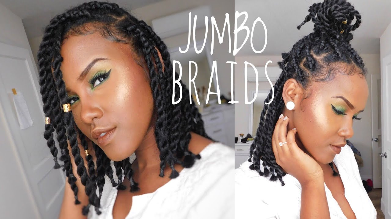 how to do short chunky jumbo box braid/twist on natural hair by yourself