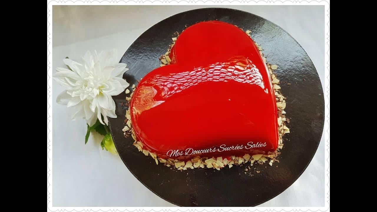 Entremet coeur aux 3 chocolats gla age miroir youtube for Miroir framboise