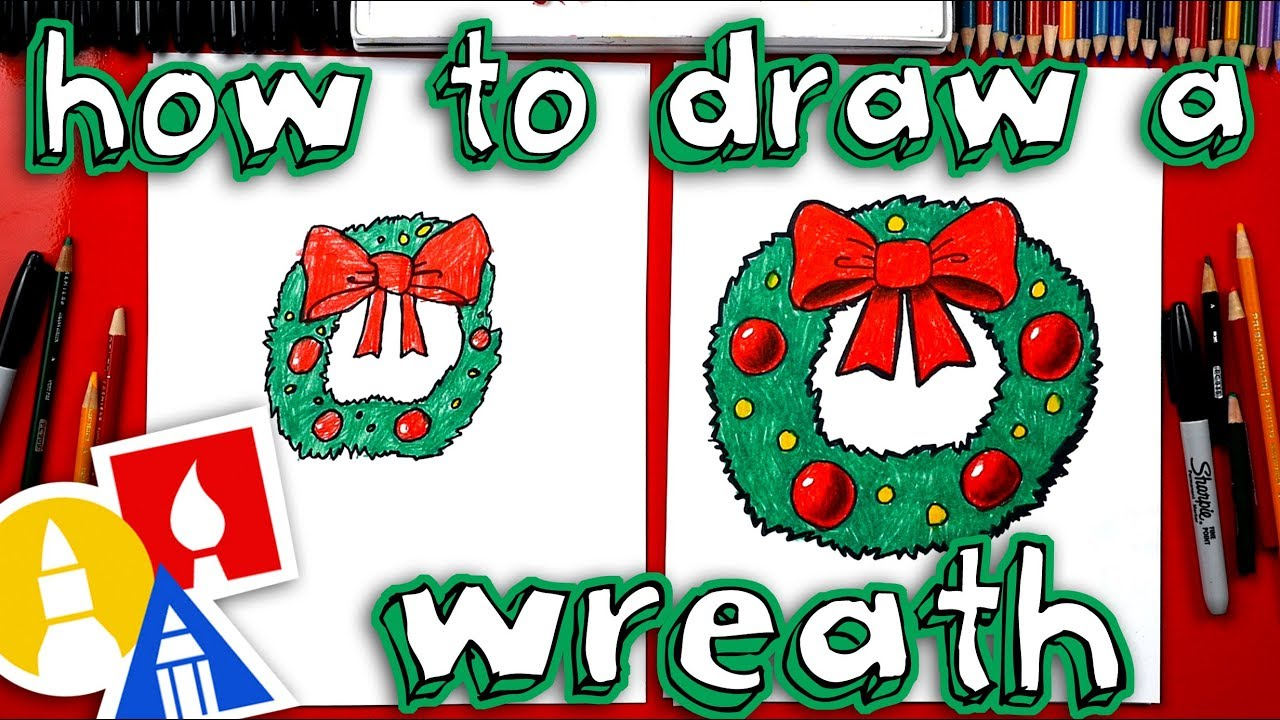 Drawings Of Christmas Wreaths.How To Draw A Christmas Wreath