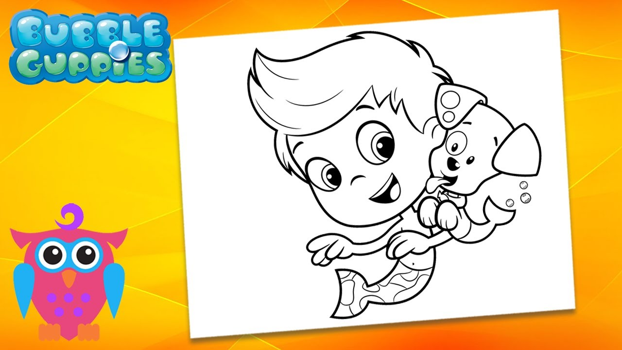 Coloring Bubble Guppies - Gil and Bubble Puppy Coloring Book & Pages