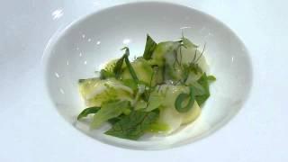 Plating Potato Dumpling, Kohlrabi, Sorrel At The Restaurant At Meadowood
