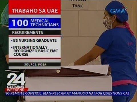 POEA: 100 medical technicians, kailangan ng malalaking kumpanya sa UAE