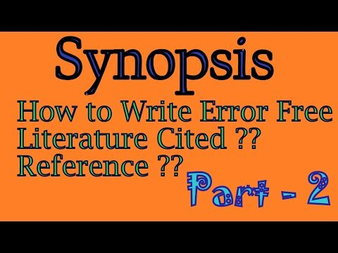 Literature Cited | Reference For Research| Synopsis Written Part-2| Error Free| Hindi | AA #17