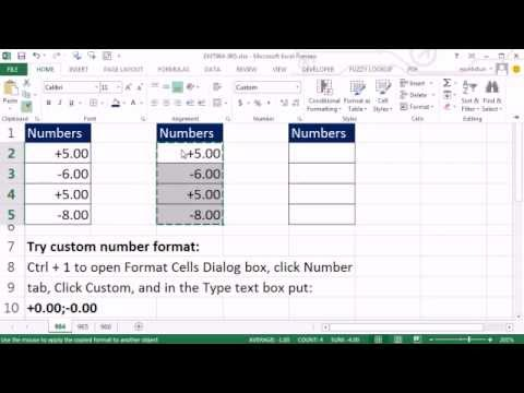 Excel Magic Trick 964: Custom Number Format Show Positive With Plus And Negative With Minus