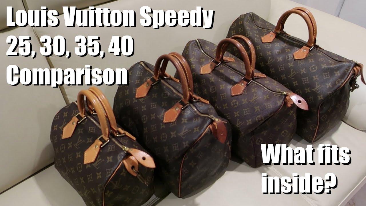 c0e7de8ed61a1 LV Louis Vuitton Philippines Speedy 25, 30, 35, 40 comparison and what fits  inside