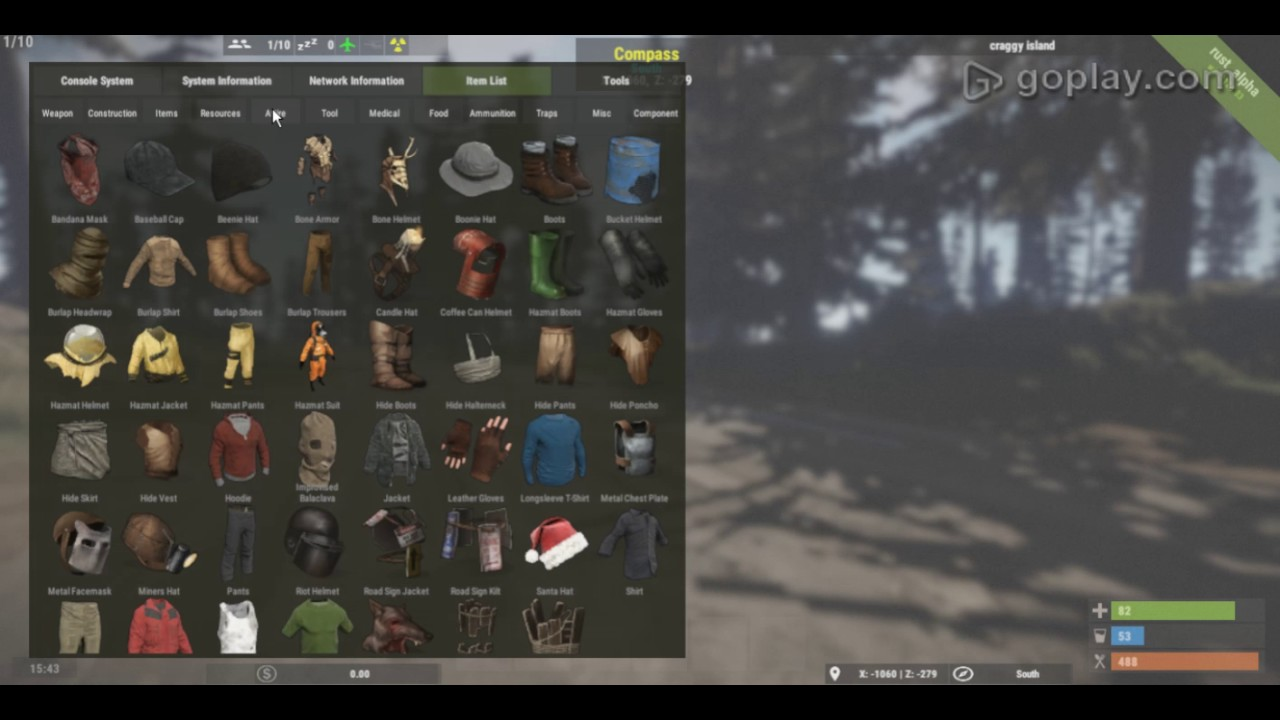 how to give yourself items in rust july2016 version