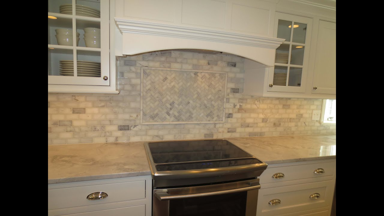 & Marble subway tile Kitchen Backsplash with feature Time lapse - YouTube