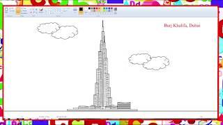 How to draw Burj Khalifa in MS Paint - Learn By Art
