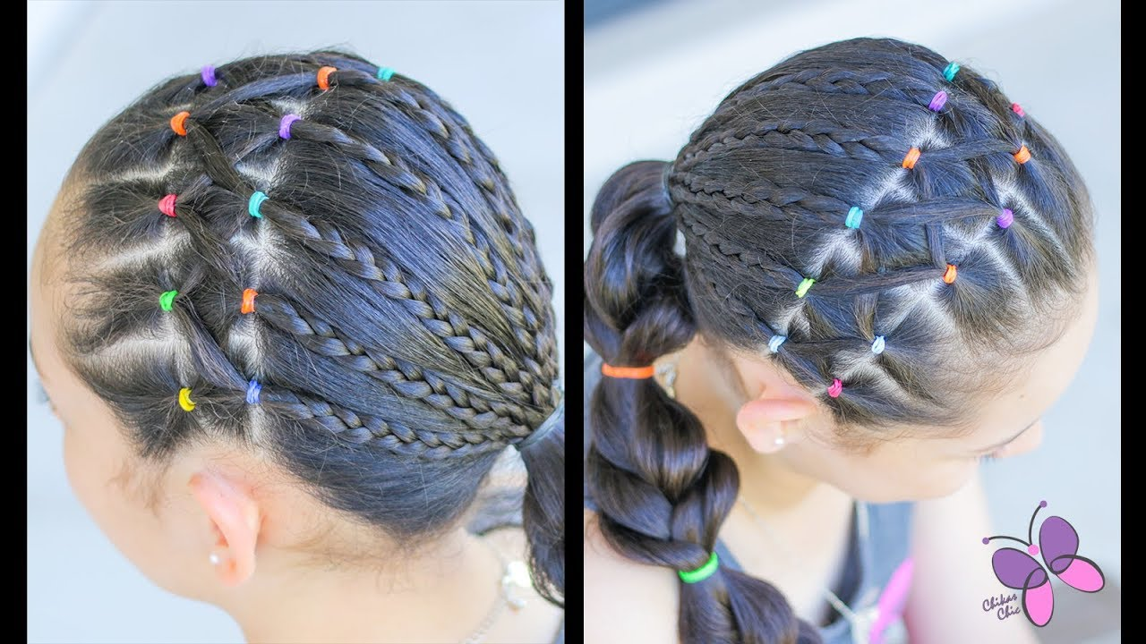 Hairstyle For Girls With Elastics And Braids Hairstyles