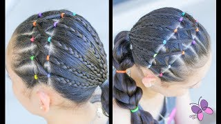 Hairstyle for Girls with Elastics and Braids | Hairstyles for School | ChikasChicEng
