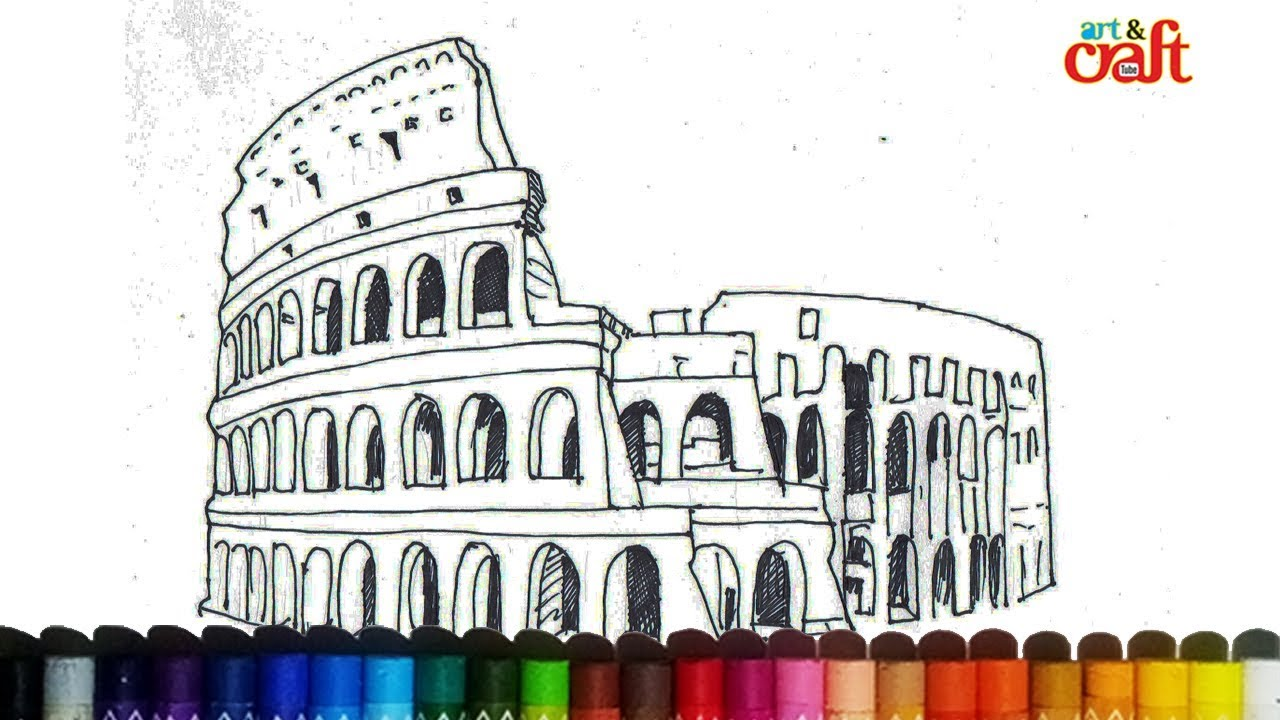 How To Draw A Colosseum Step By Step Famous Places Youtube