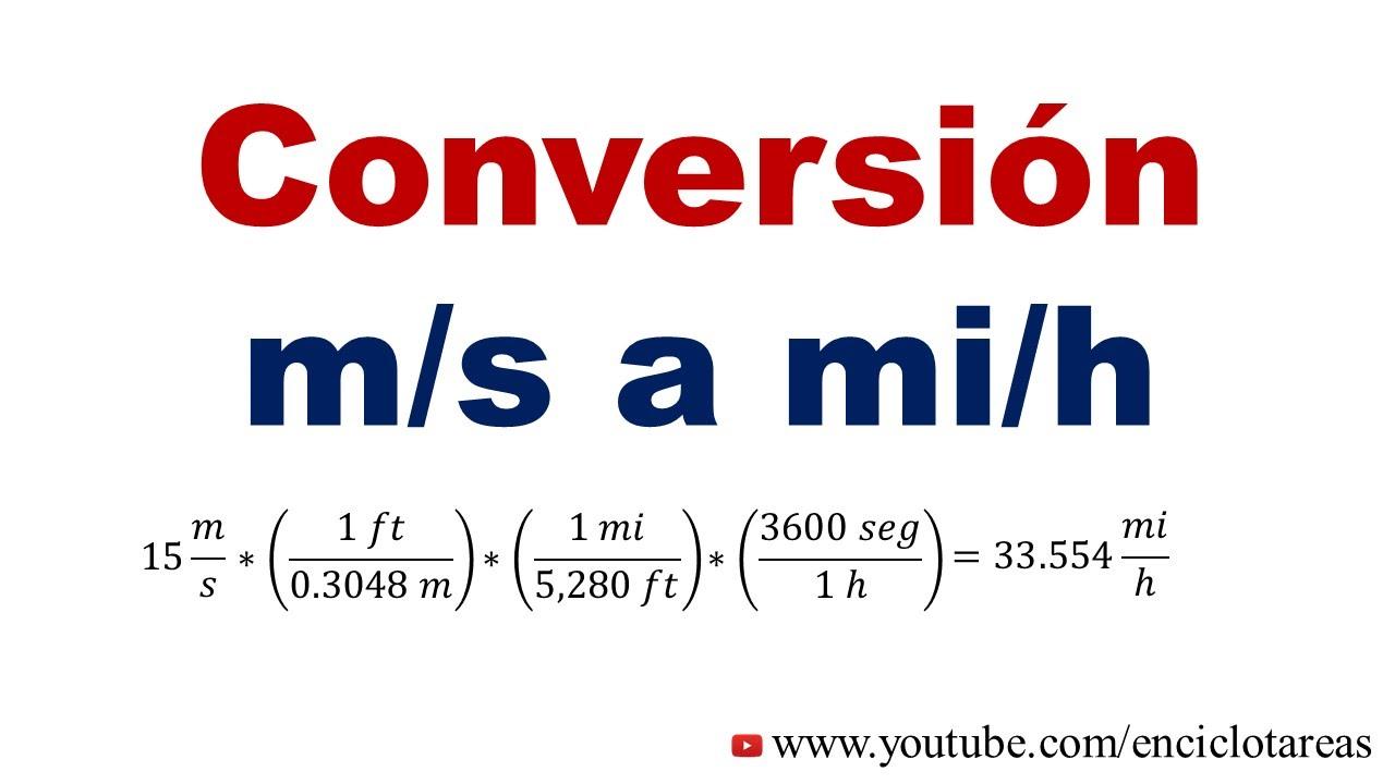 Convertir de m/s a mi/h - YouTube