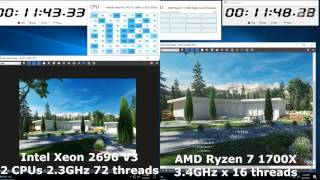 Dual Intel Xeon E5 2696 V3 vs AMD Ryzen 7 1700x 3Dsmax vray exterior Render times