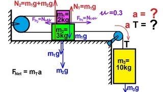 Physics - Mechanics: Appli¢ations of Newton's Second Law (15 of 20) sliding block combination