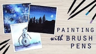 3 Easy Winter Painting Ideas using Brush Pens: Water Based Markers Painting Tutorial