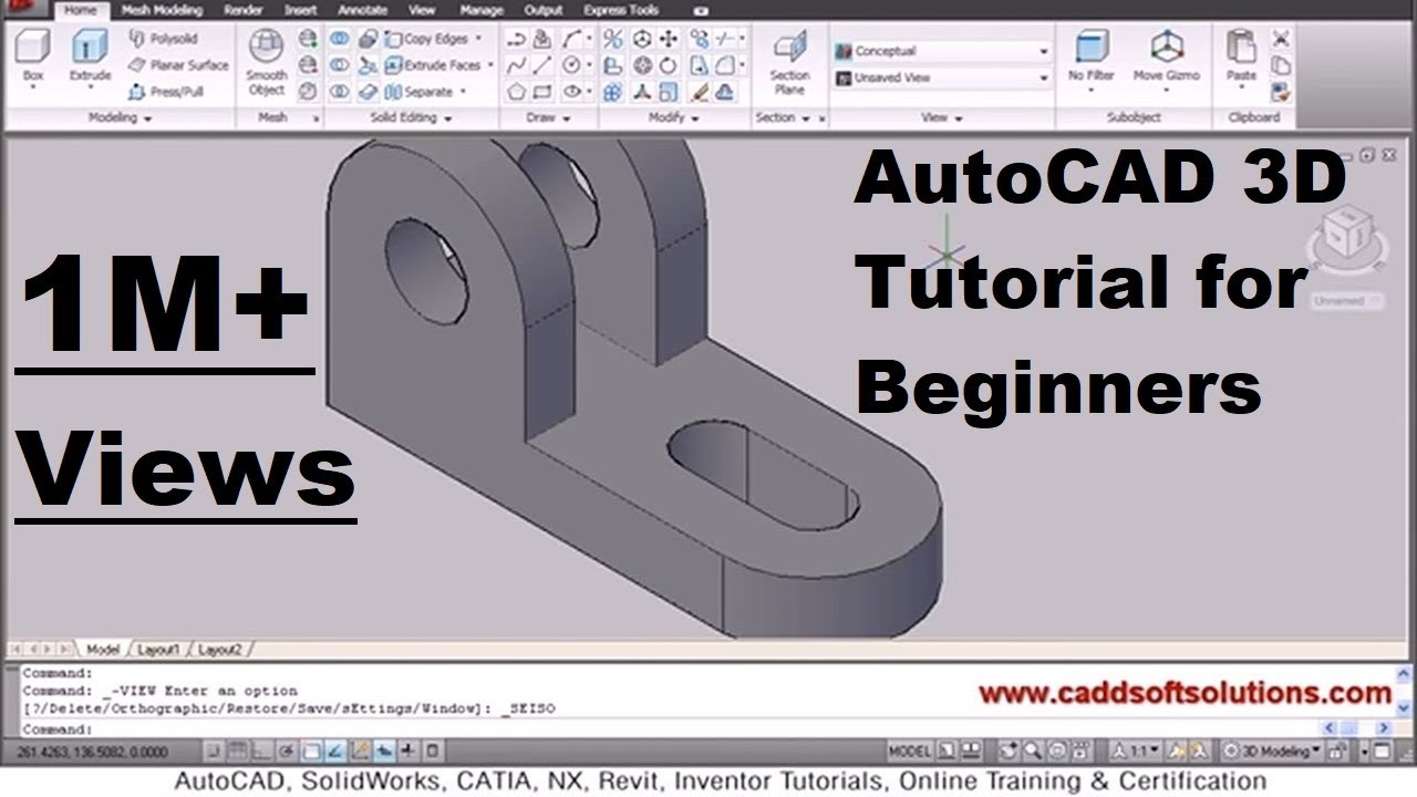 Autocad 3d tutorial for beginners youtube for Simple 3d cad software free