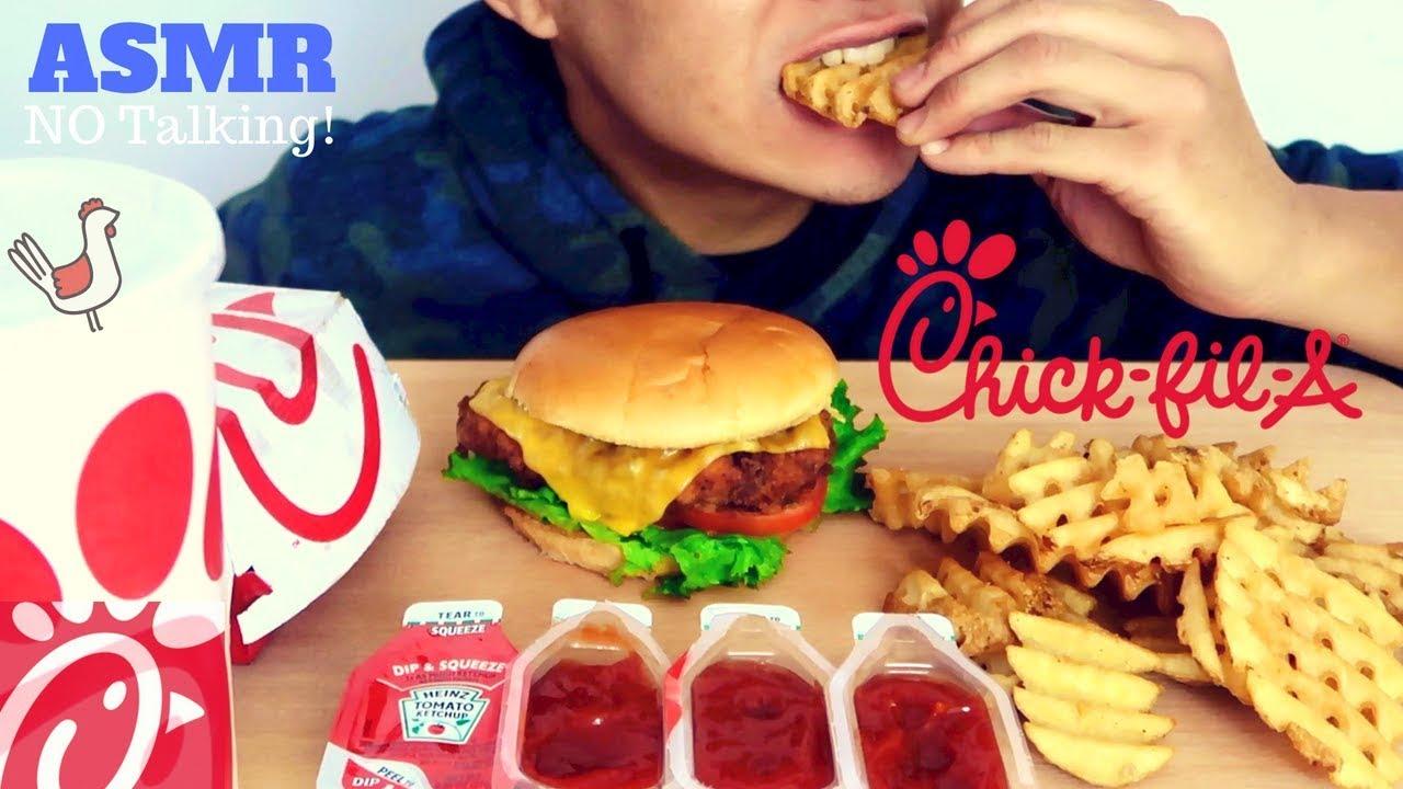 Asmr Crispy Chick Fil A Chicken Sandwich Waffle Fries Mukbang Intense Satisfying Eating Sounds
