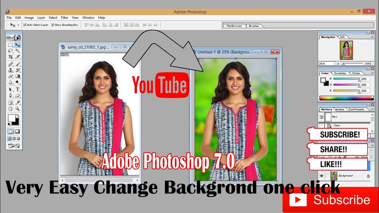 How to change background of image in adobe photoshop 7.0