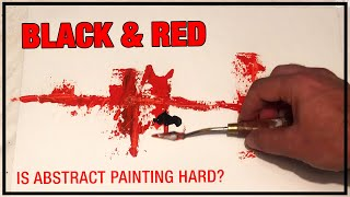 Black & Red Abstract Painting Demo / Day 012 / For Beginners / Daily Art Therapy