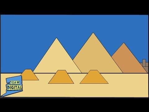 Egyptian Pyramids Digital Drawing