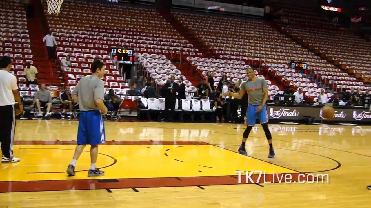 RUSSELL WESTBROOK SHOOTING DRILLS PRE GAME 3 NBA FINALS 2012 - YouTube
