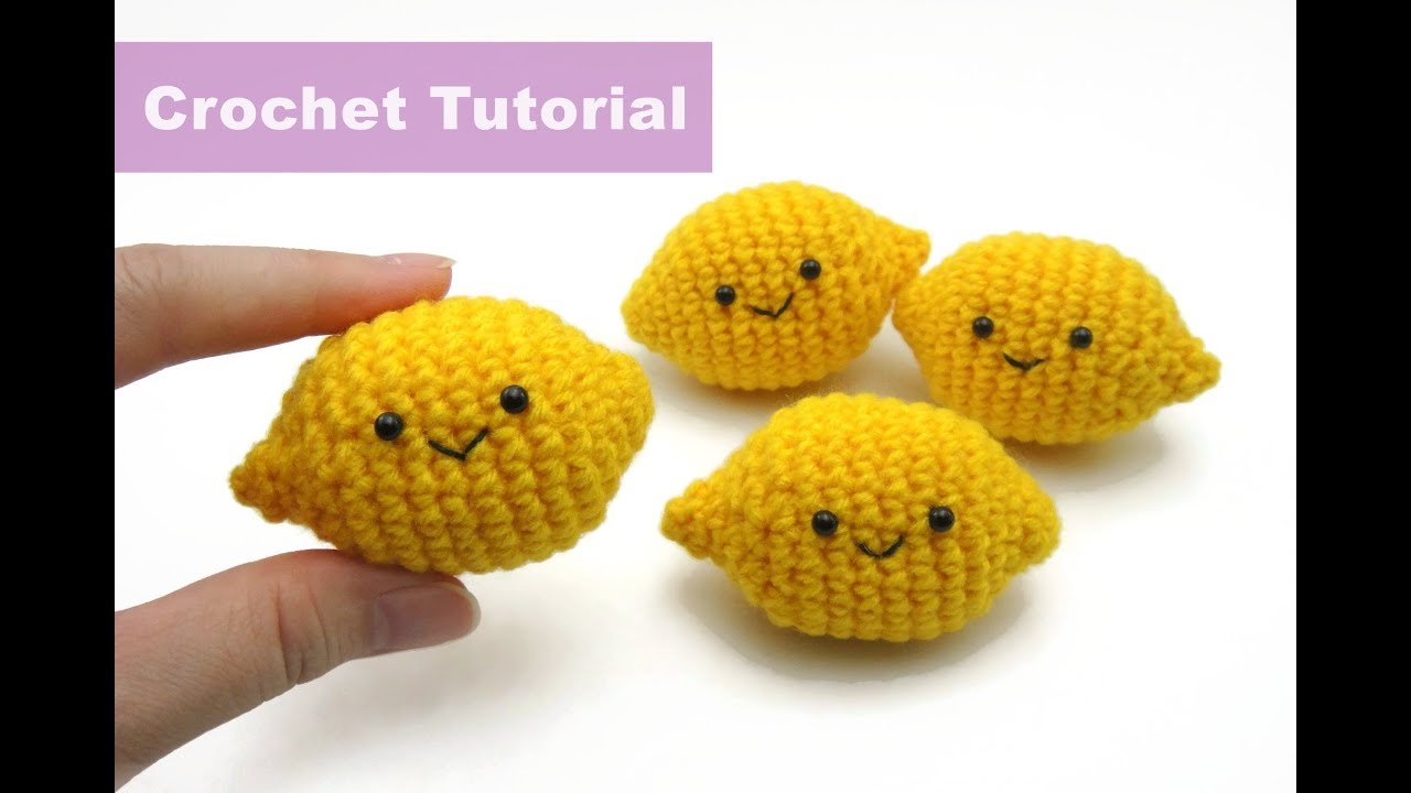 Crochet Fruit Segments lemon Tutorial | HD new 2018 - YouTube | 720x1280