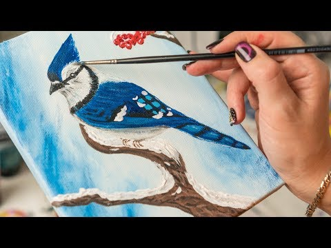 Blue Jay On The Snowy Branch - Acrylic Painting / Homemade Illustration (4k)