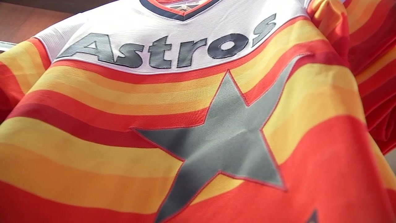 official photos ac35d dc1e0 Origin of the iconic rainbow Houston Astros jersey