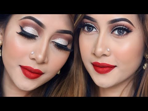 Glitter Cut Crease Eye Makeup Tutorial