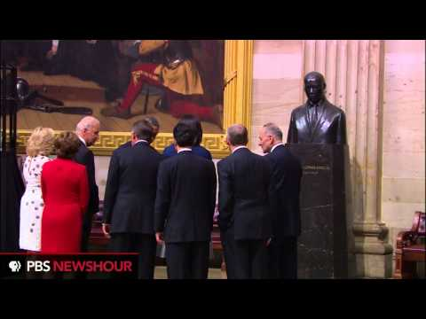 President Obama Visits MLK Jr. Statue in Capitol for MLK Day
