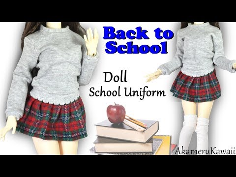 How to: Cute  Doll School Uniform - Back to School BJD / Barbie Clothes Tutorial