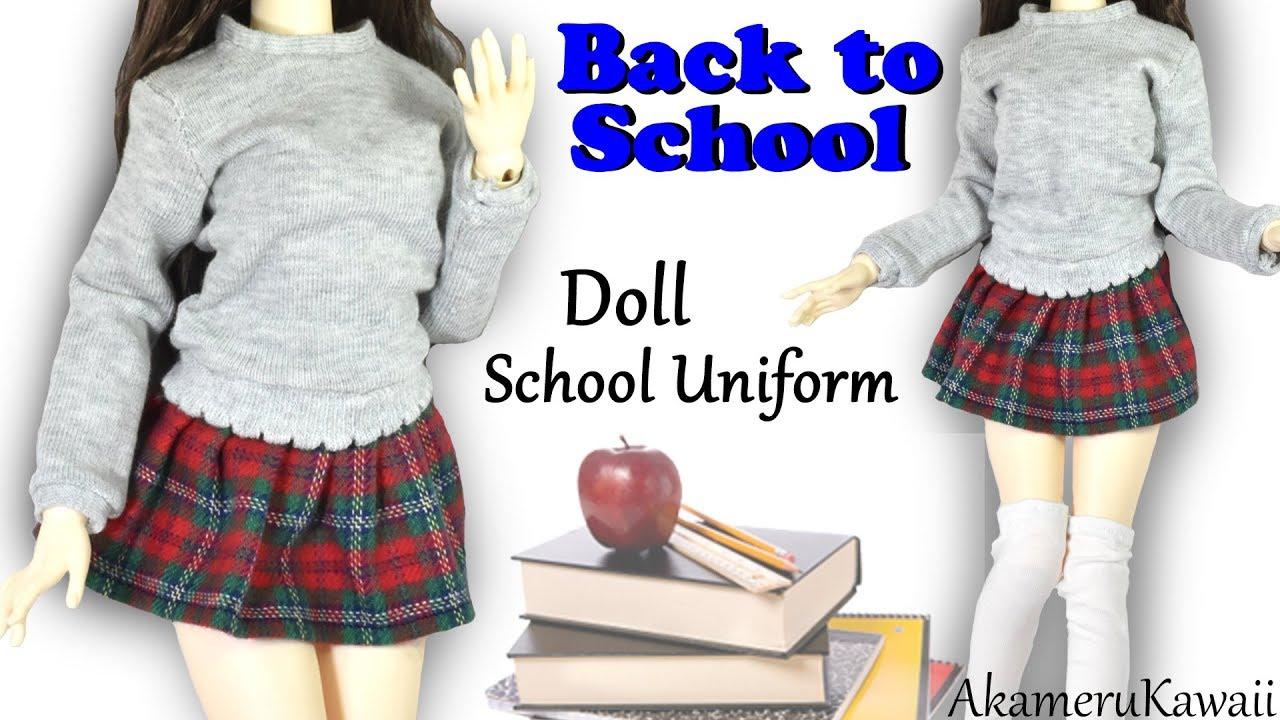 How to cute doll school uniform back to school bjd barbie how to cute doll school uniform back to school bjd barbie clothes tutorial jeuxipadfo Images