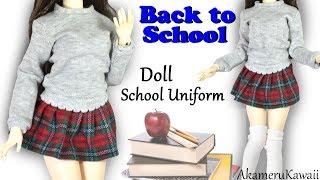 How to: Cute  Doll School Uniform - Back to School BJD / Barbie Clothes Tutorial