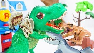 Big Head Dilophosaurus Tyrannosaurus Mosasaurus Are Here! SD Tyrannosaurus Make Big Mistake| ToyMoon