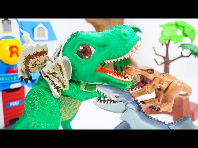 Big Head Dilophosaurus Tyrannosaurus Mosasaurus Are Here! SD Tyrannosaurus Make Big Mistake  ToyMoon