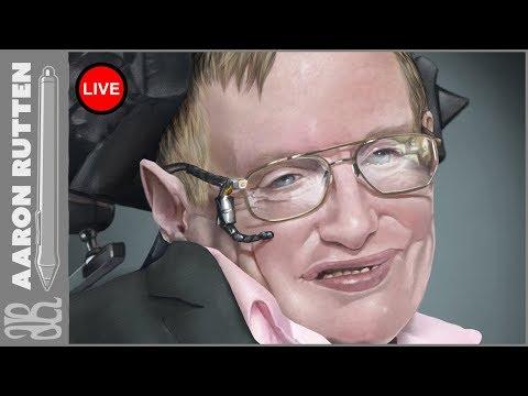  Live: WIP Portrait Of Stephen Hawking - Digital Art Live Stream (4/21/2018)