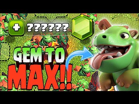 Clash Of Clans - GEM TO MAX BABY DRAGON!! ( BaBy dragon Max Lvl Raid)