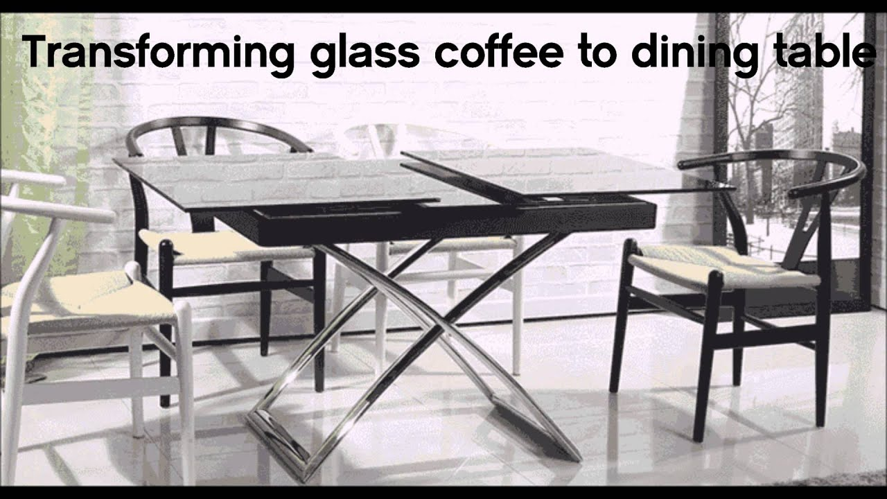 Transforming small glass table turns into dining table by murphysofa