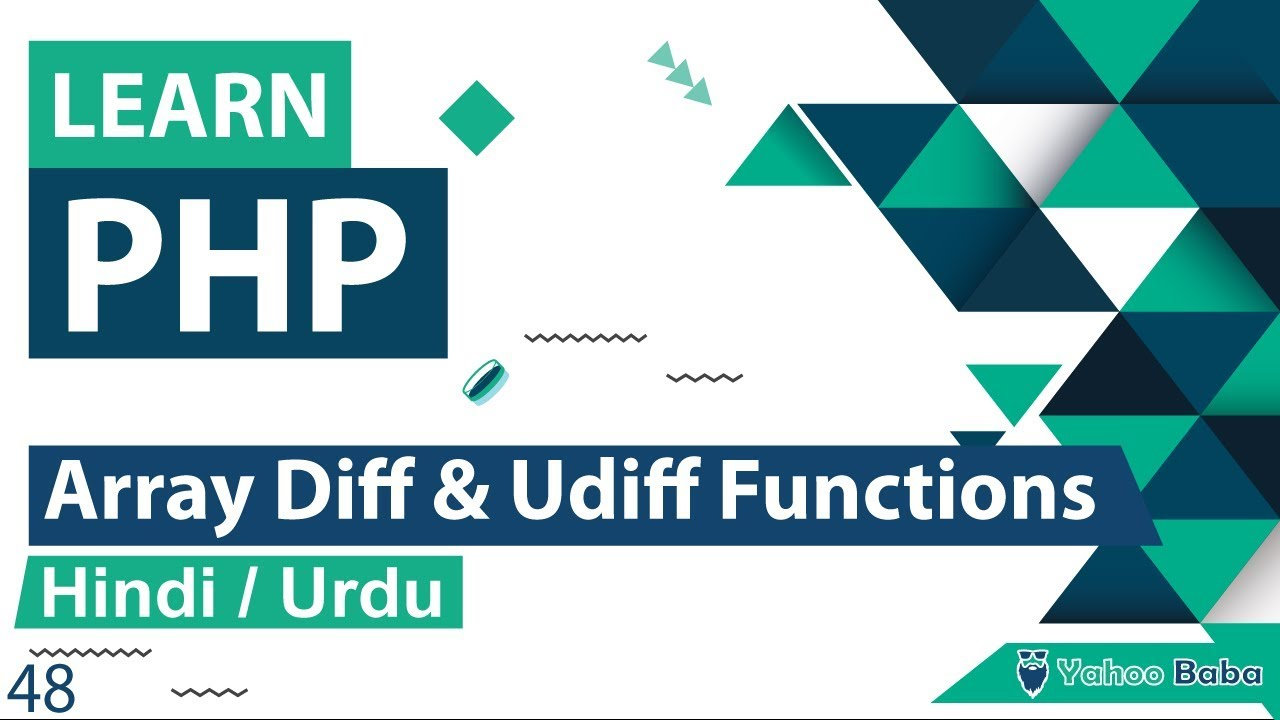 PHP Array Diff & Udiff Functions Tutorial in Hindi / Urdu