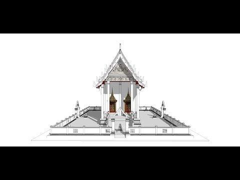 Sketchup create 3d Model  thai temple