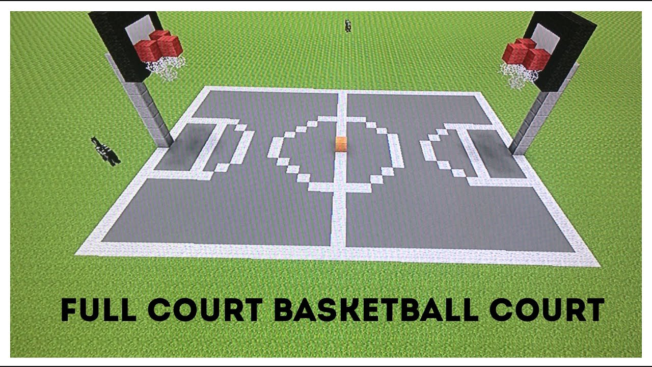 Minecraft tutorial how to make a full court basketball for How to build basketball court