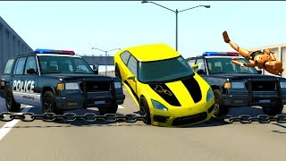 HIGH SPEED POLICE CHASES USING NEW SPIKE STRIP TECHNOLOGY! - BeamNG Drive Crash Test Compilation