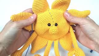 Солнышко крючком. Вязаное солнце. Солнце вязаное крючком. Crochet sun (Урок 3 Тело)